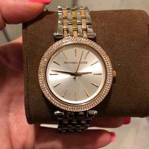 Two tone rose and silver Michael Kors watch